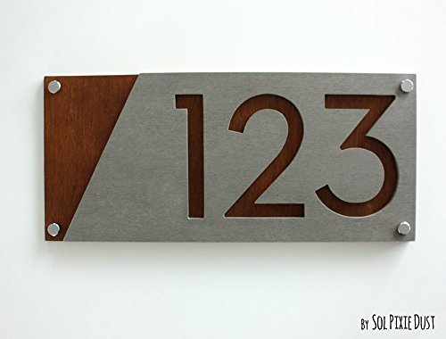House Old Street (Modern House Numbers, Concrete with Marine Plywood - Contemporary Home Address - Sign Plaque - Door Number)