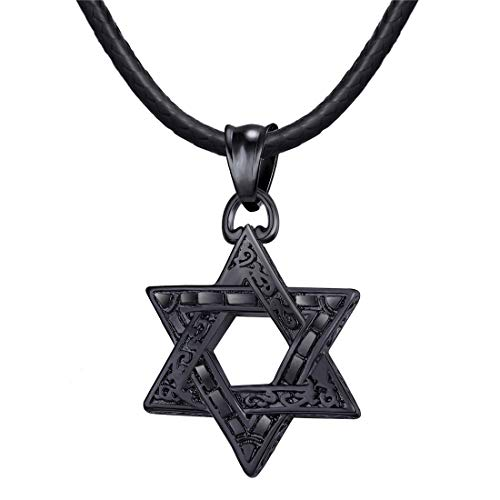 U7 Cool Black Star of David Pendant with 2mm Black Leather Cord Chain Jewish Jewelry Israel Necklace 22 Inch