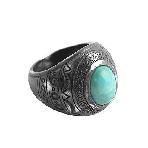Beydodo Mens Silver Ring, Turquoise Ring Size 9 Silver Ring for Men Hip Hop by Beydodo
