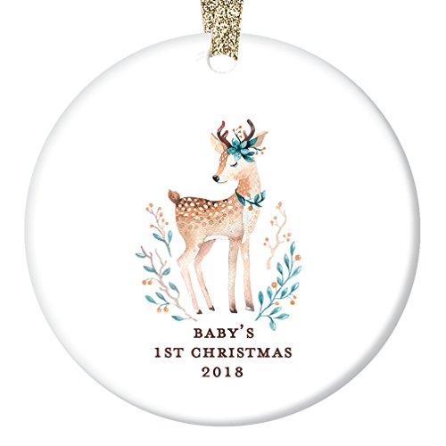 Ornament Deer Christmas (Baby Girl's First Christmas Ornament 2018, Baby Deer Ornaments, Woodland Baby Shower Gifts Newborn Present for New Parents Ceramic Keepsake Present 3