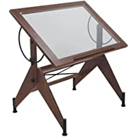 Offex Home Aries Glass Top Drafting Table Dark Walnut / Black