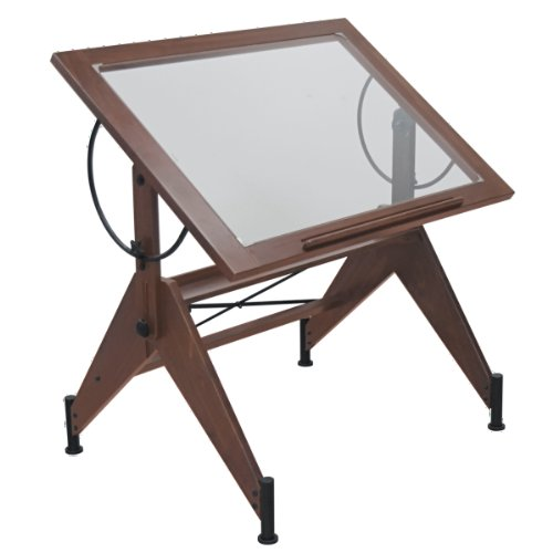 Offex Home Aries Glass Top Drafting Table Dark Walnut / Black by Offex