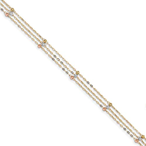 14k Tri Color Yellow White Gold 3 Strand Beaded Anklet Ankle Beach Chain Bracelet Fine Jewelry Gifts For Women For Her 14k White Gold Multi Strand