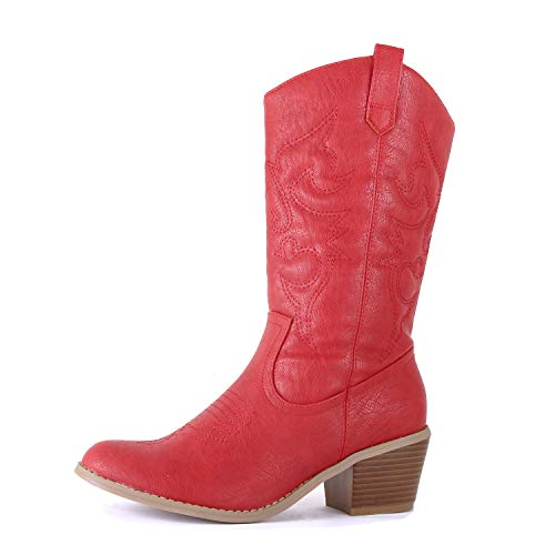 West Blvd Miami Cowboy Western Boots Boots, Red Pu, 6 (B) M US