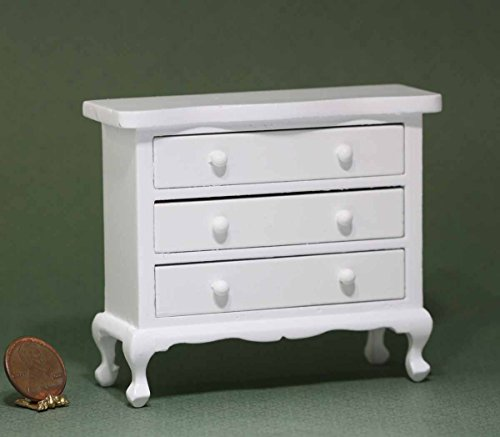 Dollhouse Miniature White Wood Dresser by Town Square Miniatures from Dollhouse Miniature
