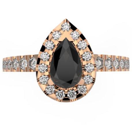 TRINAMY Bagues Or Blanc 18 carats Diamant Noir 0,8 Poire