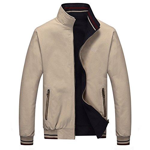 - RongYue Men's Casual Cotton Reversible Jacket Light Golf Jacket (Large, Khaki-019)
