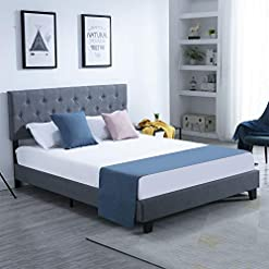 Bedroom Full Bed Frame Platform Upholstered with Headboard Button Tufted, Modern Bed Frame Mattress Foundation with Adjustable… modern beds and bed frames