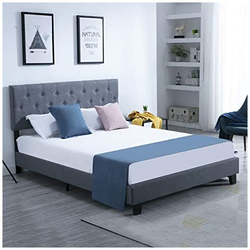 Bedroom Catrimown Bed Frame Queen Upholstered with Headboard, Modern Metal Platform Bed Mattress Foundation, 12 Wood Slats… modern beds and bed frames