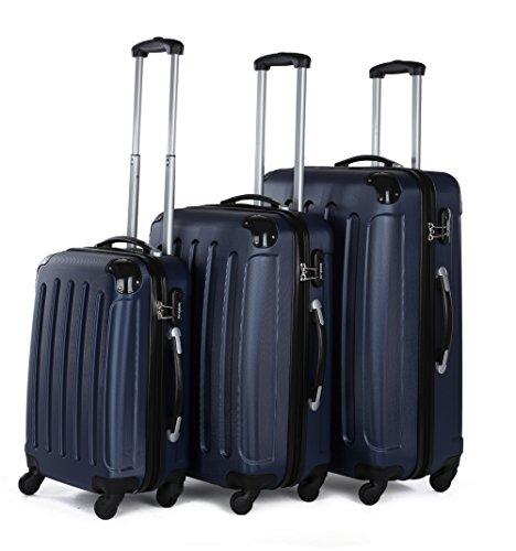 BEIBYE Koffer Farbauswahl!! 3 tlg. Reisekofferset Kofferset Trolley Hartschale (Dunkelblau)