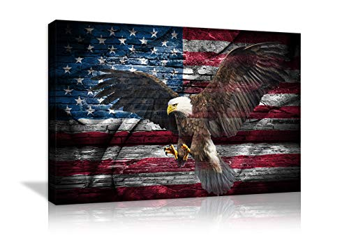 Large Poster Retro American Flag Bald Eagle US Military Wall Art Canvas Prints Thin Blue Red Line Home Decor Pictures for Living Room Bedroom Painting Framed Ready to ()