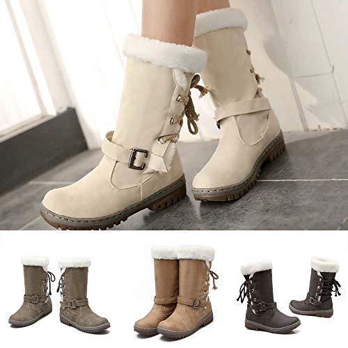 De Chaussures Mode Bottes Montantes Et D'automne Femme Beige Boots Premium Daim Mouton Neige Des Hiver Bottines Plat Boot 4x5qnf7