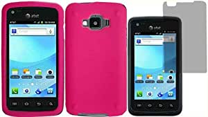 Hot Pink Silicone Jelly Skin Case Cover+LCD Screen Protector for Samsung Rugby Smart i847