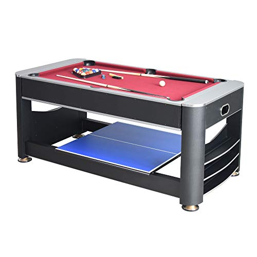 (Hathaway Triple Threat 6-ft 3-in-1 Multi Game Table with Billiards, Air Hockey, and Table Tennis)