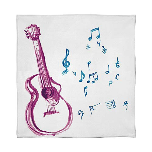 - C COABALLA Lightweight Blanket,Guitar,for Bed Couch Chair Fall Winter Spring Living Room,Size Throw/Twin/Queen/King,Watercolor Musical Instrument with Notes Sheet Elements