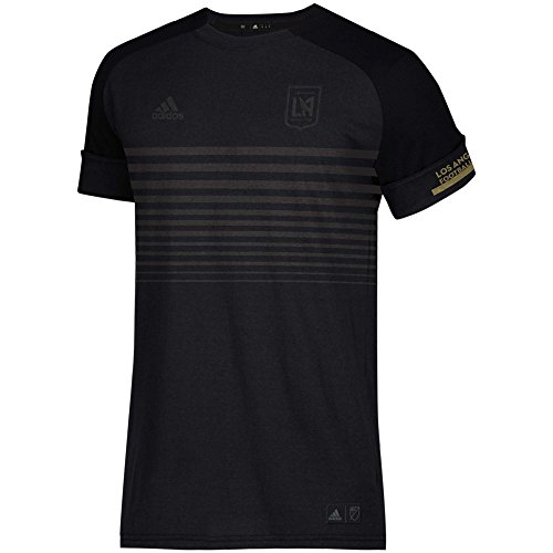(adidas Los Angeles FC Youth Tonal Black Striped Chest T-Shirt (Youth Large 14/16) )