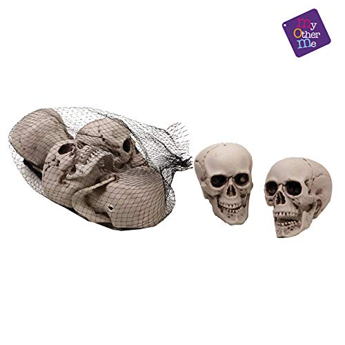 Viving Costumes Bag with 6 Big Size Skulls, 8 x 9 cm