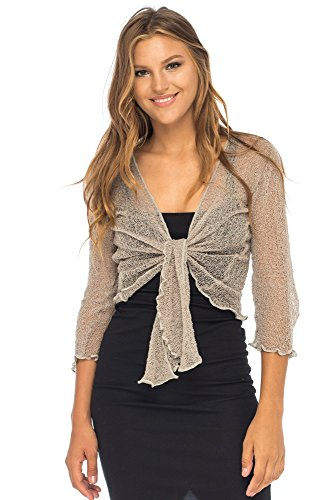 Back From Bali Womens Lightweight Knit Cardigan Shrug Lite Sheer (Fair Night Light)