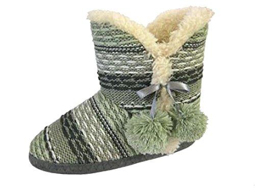 Nuevas señoras Coolers pattern fur Lined para caliente de peluche Zapatillas Tobillo Snug Boot Verde
