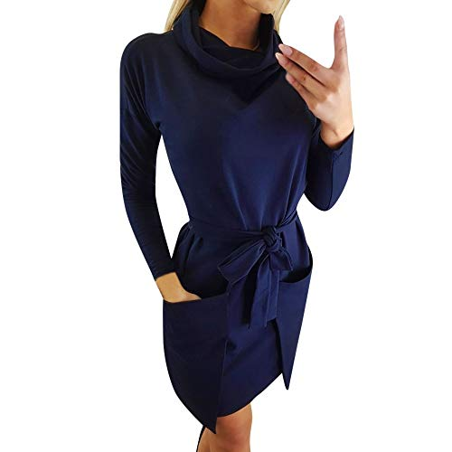 (AgrinTol Women Dress, Women's Casual Solid Stacked Collar Long Sleeve Splice Dress with Belt)