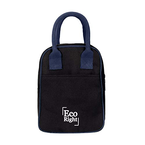 Eco Right Insulated Lunch Bag for Office Men, Women and Kids, Quality Canvas Tiffin Bag for School, Picnic, Work, Carry Bag for Lunch Box   Black   0703 Price & Reviews