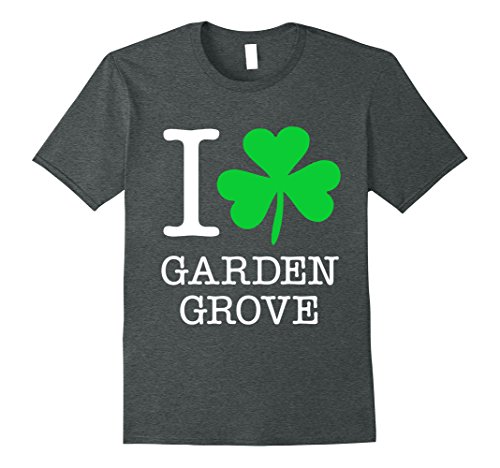 Mens Garden Grove Irish Shamrock T Shirt Love Heart Small Dark Heather
