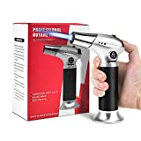 ERKOON Blow Torch Lighter Kitchen Cooking Culinary Torch Refillable Butane Torch with Safety Lock and Adjustable Flame Fit for BBQ Camping Creme Brulee Baking (Butane Gas NOT Included)