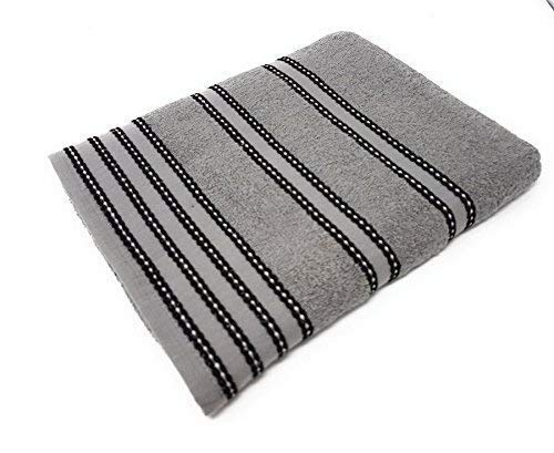 2 X STRIPED BRIGHT 100% COMBED COTTON SOFT ABSORBANT BLACK GREY HAND TOWELS TOWELS UNIQUE