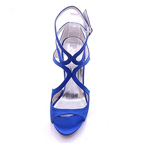 L Hauts Blue à Taille Multi 7216 Nuptiale Shoes Femmes 3 Court Satin Toe 06 YC 8 Open Couleur Talons mariée Grande IpIrw