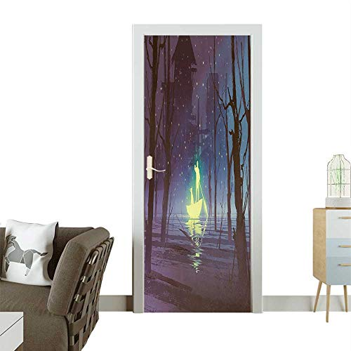 Door Sticker Wallpaper Luminous Man and Dog in in River Firefli be Haunted House Blue Fashion and Various patternW17.1 x H78.7 INCH