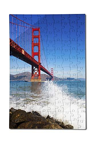 San Francisco, California - Golden Gate Bridge and Ocean Spray - Photography A-92293 (12x18 Premium Acrylic Puzzle, 130 Pieces) ()