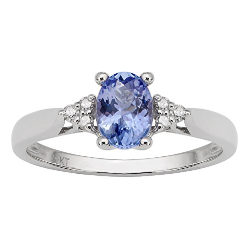 Tanzanite Diamond Cluster Ring (10k Rhodium-Plated White Gold Oval Tanzanite and Diamond Ring)
