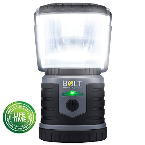 Rechargeable LED Lantern Bright Light for Camping, Emergency Use, Outdoors, and Home- Lasts for 250 Hours on a Single Charge- Includes USB Cord and Wall Plug- Built In Phone Charger by Bolt Lite