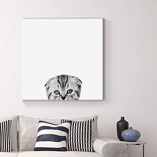 Curious Pets Cat Black and White Painting Artwork for Home Framed