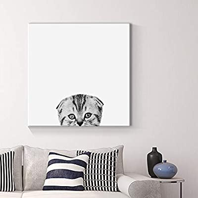 Curious Pets Cat Black and White Painting Artwork for Home Framed, Original Creation, Delightful Object of Art