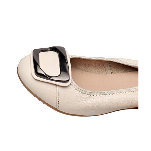 Jamron Donna Vera Pelle Comfort Scarpe Suola Morbida Ballerine Tacco Basso a Zeppa Pantofole