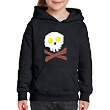 Blue Tees Bacon Eggs Breakfast Skull Fashion Hoodie For Girls - Boys Youth Kids