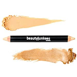 Brow Concealer & Highlighter Duo Pencil Crayon Warm Beige, Matte and Shimmer Eyebrow Shaper, Paraben Free, Gluten Free, Made in the USA