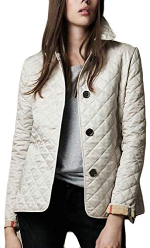 security Women's Lightweight Stand Collar Button Down Quilted Jacket Coat Beige