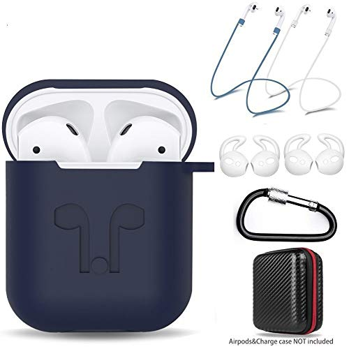 AMASING AirPods Case 7 in 1 Airpods Accessories Kits Protective Silicone Cover for Airpod(Front led Not Visible) with Ear Hook Grips/Airpods Staps/Clips/Skin/Tips/Grips (AIRPODS 1, Blue)
