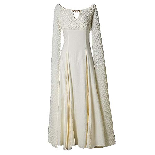 Xfang Women's Chiffon Dress Halloween Cosplay Costume Beige