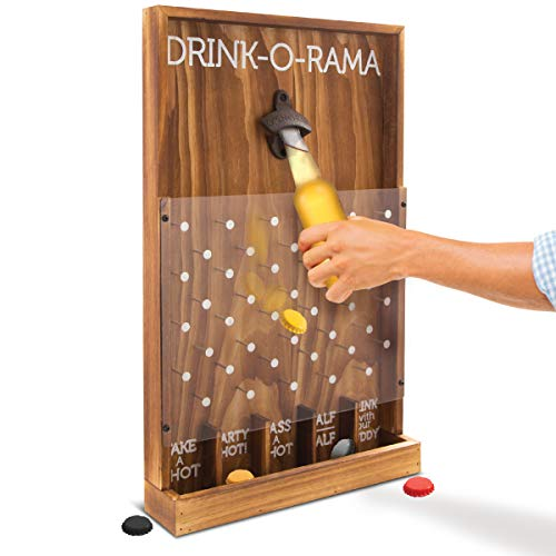 Beer Games Drinking - Refinery Drink-O-Rama Bottle Cap Drinking Game, Rustic Wood Wall Mount Bottle Opener, The Party Game of Chance! Drop Game Decides Your Fate, Perfect Gift for His Her Adult Birthday