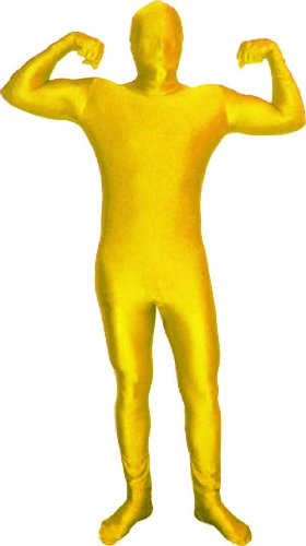[Full Body Spandex Suit Costume (Small/Medium, Yellow Gold)] (Funny Weird Halloween Costumes)