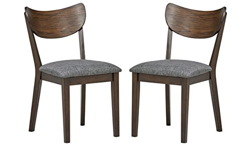 Upholstered Chestnut Chair - Rivet Mid-Century Curved-Back Dining Chairs, 18