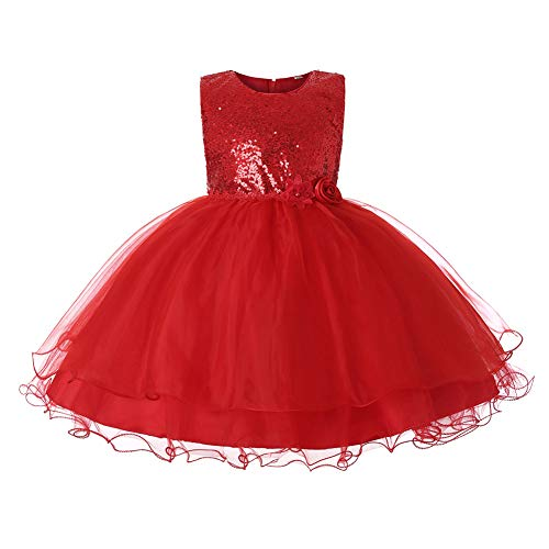 JiaDuo Baby Girl Lace Mesh Tutu Dress Sequin Bow Toddler Princess Gown (3-4 Years, Red) -