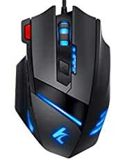Gaming Mouse Wired Programmable 7 Buttons - Hcman [Upgraded Version] Led Backlit & 5 DPI Mode,Comfortable Grip with Fire Button,USB PC Gaming Mice,for Laptop Computer MAC Gamers (Black)