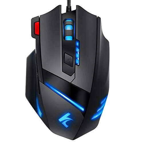Gaming Mouse Wired Programmable 7 Buttons - Hcman [Upgraded Version] Led Backlit & 5 DPI Mode,Comfortable Grip with Fire Button,USB PC Gaming Mice,for Laptop Computer MAC Gamers Black