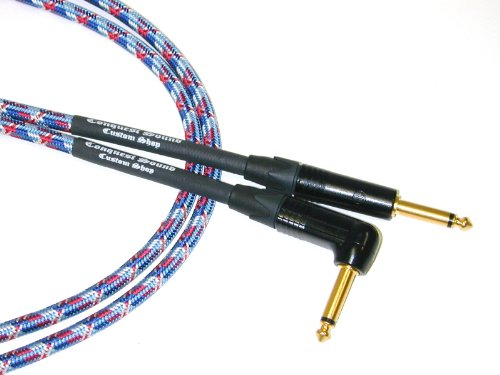 Conquest Sound CQCQA25-19 OLD GLORY 25A, 25-Feet Angle Guitar/Instrument Cable with Red, White, Blue Woven Jacket and Neutrik Gold (Conquest Guitar Cables)