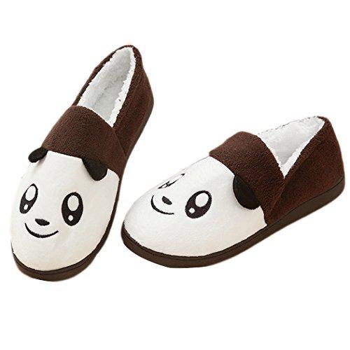 Miyang Hiver Femmes Pur Coton Doux Semelle Lavable Anti-dérapant Confortable Maison Chaussures Pantoufles Brun Panda02