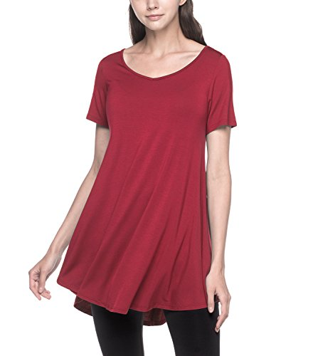 LAPASA Casual - Short Sleeve Women T-Shirt (Loose Fit Soft Rayon Blouse, Plus L20 (Vampire Red | Vampire Rojo 2, XL (Length 34.6